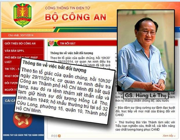 Trang mạng bộ công an loan báo Giáo sư Hồng Lê Thọ, chủ nhân trang blog Người Lót Gạch, một trí thức kiều bào về nước bị bắt giam vào khuya ngày 29 tháng 11, 2014