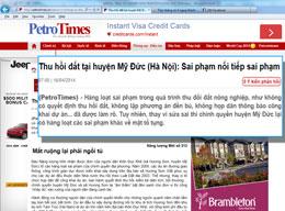 Báo PetroTimes đưa tin ngày 16 tháng, 2014: Thu hồi đất tại huyện Mỹ Đức (Hà Nội): Sai phạm nối tiếp sai phạm - Mất ruộng lại phải ngồi tù...(Screen capture)