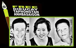 RFA file  Từ trái: Blogger Điếu Cày, blogger Tạ Phong Tần, và blogger Anh basaigon.