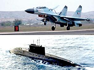 """Quân đội Việt Nam: Chiến đấu cơ Su-30MK2 và tàu ngầm """"Kilo"""" 636 của Nga(Nguồn : Wikipedia)"""