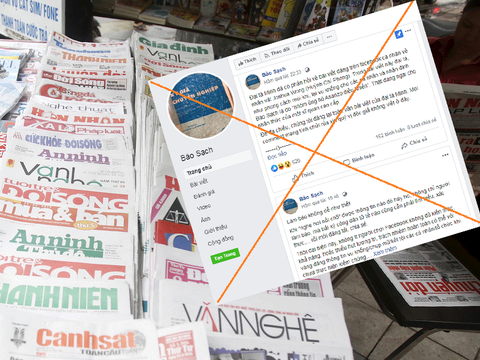 Hình minh hoạ. Một sạp báo trên đường phố Hà Nội và trang Facebook của Báo Sạch bị gạch chéo trên một trang blog thân Chính phủ