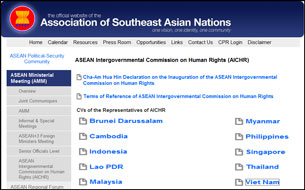 Danh sách đại biệu các quốc gia trong Ủy Ban Liên Chính Phủ ASEAN Về Nhân Quyền. RFA screen cap.