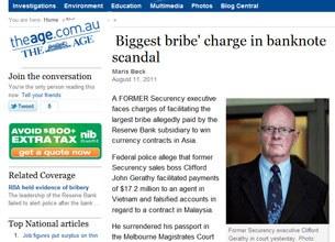 Ông Clifford John Gerathy  trên trang đầu của báo The Age của Úc.
