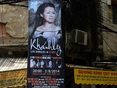 Quảng cáo đêm nhạc Khánh Ly ở Hà Nội năm 2014.