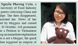 Sinh viên Nguyễn Phương Uyên bị bắt hôm 14 tháng 10, 2012 vì viết những bài thơ chống Trung Quốc...