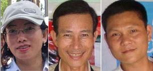 Từ trái: Blogger Tạ Phong Tần, blogger Điếu Cày, và blogger Anh basaigon. RFA file