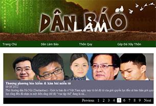 Giao diện trang blog Dân Làm Báo ngày 12/09/2012. Screen capture.