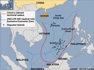 """Bản đồ biển Đông và vùng chủ quyền """"Lưỡi Bò"""" theo Trung Quốc."""