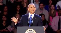 Tổng thống Obama trong diễn văn chiến thắng, cảm ơn cử tri, 6 tháng 11, 2012- Screen capture