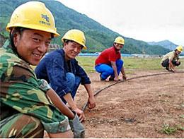 Phần đông công nhân Trung Quốc đang làm việc tại dự án nhà máy nhiệt điện Nông Sơn đều là lao động phổ thông. Courtesy Tuoitre
