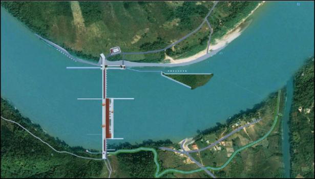 Bản vẽ dự án đập thủy điện Sanakham được đề xuất.