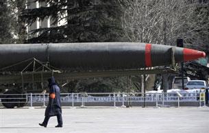 Loại hỏa tiễn chống hỏa tiễn cua TQ được trưng bày năm 2010. AFP
