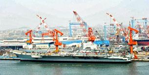 Tàu sân bay Thi Lang của Trung Quốc đang được tu sửa. AFP