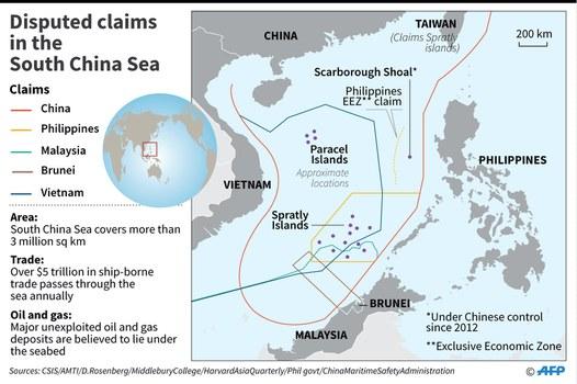 Bản đồ Biển Đông có đường lưỡi bò Trung Quốc tự vẽ ra trên biển
