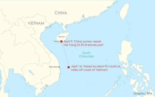 Theo dõi tàu khảo sát Hải Dương Địa chất số 8 của Trung Quốc kể từ khi rời cảng Tam Á trên đảo Hải Nam, ngày 9 tháng 4 năm 2020.