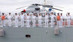 Tàu chiến hải quân Trung Quốc (tàu khu trục tên lửa dẫn đường) ghé Nam Phi ngày 04 Tháng 04 năm 2011. AFP PHOTO.
