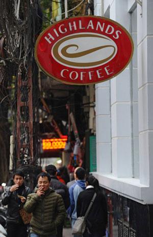 Thương hiệu cà phê Highlands ở VN. AFP photo