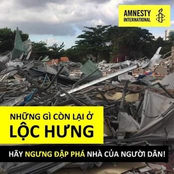Tổ chức Ân Xá Quốc Tế kêu gọi Chính quyền Việt Nam ngưng đập phá nhà của người dân.