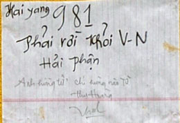 """Ông Hoàng Thu khi tự thiêu để lại mảnh giấy  có nội dung """"  Hai Yang 981 phải rời khỏi V-N hải phận. Anh hùng tử khí hùng nào tử""""."""