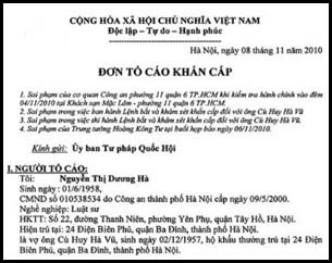 Một phần đơn tố cáo do Luật sư Nguyễn Thị Dương Hà vừa gửi đến các nhân vật cao cấp nhất của Việt Nam cũng như Viện Kiểm Sát tối cao. Photo courtesy of DCVonline.