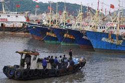 Tàu đánh cá của ngư dân Trung Quốc neo đậu tại một bến cảng ở thành phố Ôn Lĩnh, phía đông của Trung Quốc ngày 16 tháng 9 năm 2012. AFP PHOTO.