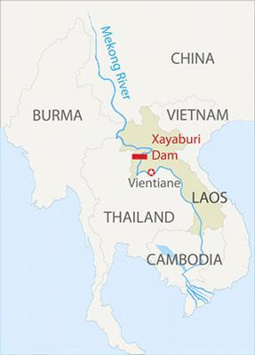 Bản đồ ghi vị trí của đập thủy điện Xayaburi