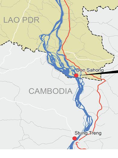Vị trí đập thủy điện Don Sahong 260 MW trên Thác Khone, Nam Lào [Nguồn: MRC 2013]