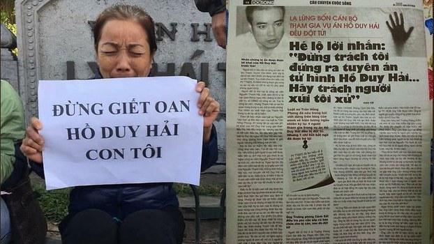 Bà Nguyễn Thị Loan, mẹ tử tù Hồ Duy Hải kêu oan cho con