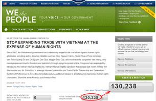 Chỉ còn vài tiếng đồng hồ nữa phái đoàn đại diện người Mỹ gốc Việt sẽ vào Tòa Bạch Ốc để gặp đại diện chính phủ Mỹ, thì trên Thỉnh Nguyện Thư số người ký tên đã tăng lên con số 130, 238.