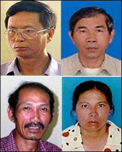 Bốn thành viên Đảng Vì dân bị đưa ra xét xử hồi tháng 4 năm 2010: ông Phùng Quang Quyền, ông Trương Văn Kim, ông Dương Âu và bà Trương Thị Tám. File photo.