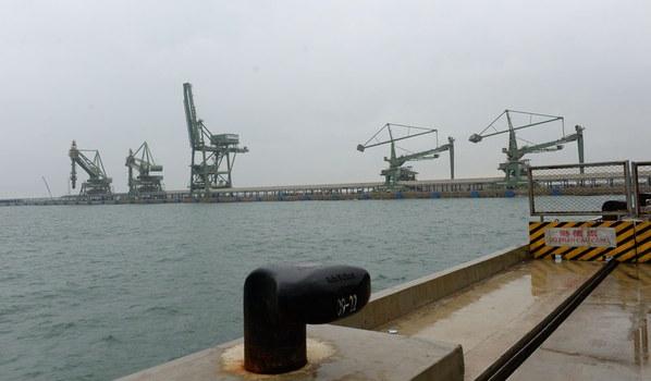 Một góc khu vực cảng tàu của nhà máy thép Formosa.
