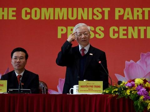 Tổng bí thư Đảng Cộng sản Việt Nam Nguyễn Phú Trọng trong cuộc họp báo sau lễ bế mạc Đại hội đại biểu toàn quốc lần thứ 13 của ĐCS Việt Nam ngày 1/2/2021.