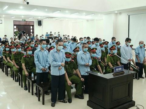 Hình minh hoạ. Phiên sơ thẩm xử 29 người dân Đông Tâm ở Hà Nội hôm 14/9/2020