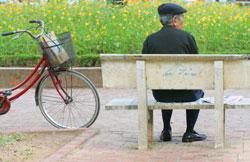 Một người dân ngồi nghỉ chân ở công viên với một giỏ giấy tờ trên xe, ảnh minh họa. AFP photo