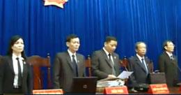 HĐXX phiên toà dưới sự chủ toạ của thầm phán Phạm Đức Tuyên. Video clip