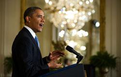 Tổng thống Barack Obama tại cuộc họp báo ở Nhà Trắng hôm 14-01-2013. AFP PHOTO.