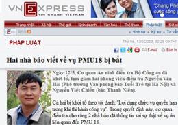 Hai nhà báo Nguyễn Việt Chiến và Nguyễn Văn Hải bị bắt giam sau khi có bài viết về vụ tham nhũng của PMU 18. Screen cap.