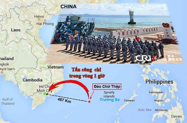 Báo chí TQ có hàng loạt bài viết cho rằng từ đảo Chữ Thập quân đội của họ có thể triển khai tấn công TP-HCM chỉ trong vòng 1 giờ đồng hồ