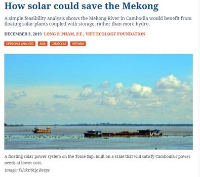 """Nghiên cứu Đề án """"Năng lượng mặt trời nổi"""" của Kỹ sư Phạm Phan Long đăng trên Tạp chí PV Magazine ngày 03/12/19."""