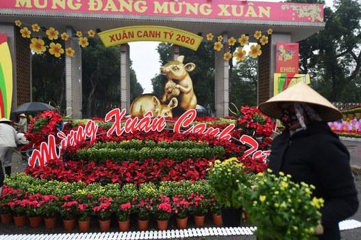 Hoa trang trí Tết Canh Tý tại một công viên ở Hà Nội. Ảnh chụp ngày 20 tháng 1 năm 2020.