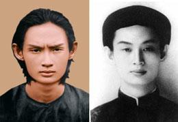 Tranh vẽ (trái) và ảnh chụp của Giáo chủ Phật giáo Hòa Hảo Đức Huỳnh Phú Sổ