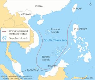 Hoạ đồ biển Đông với vùng lưỡi bò Trung Quốc áp đặt