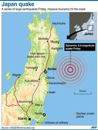 Bản đồ khu vực chịu ảnh hưởng nặng nề của trận động đất ở Nhật hôm 11-3-2011. AFP