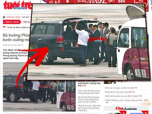 Báo Tuổi Trẻ loan tin phóng viên của tờ báo này chứng kiến Đại tướng Phùng Quang Thanh trong bộ complet màu xám nhạt bước xuống cầu thang máy bay, ông Thanh tươi cười bắt tay những người ra đón và lên xe ôtô mang biển số quân sự TH -28 -09 đang chờ sẵn.