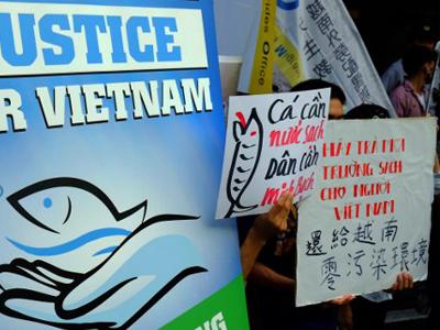 Người Việt Nam làm việc tại Đài Loan biểu tình bên ngoài trụ sở Tập đoàn Formosa tại Đài Bắc vào ngày 10 tháng 8 năm 2016.