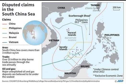 Đường lưỡi bò do Trung Quốc tự vẽ ở Biển Đông.