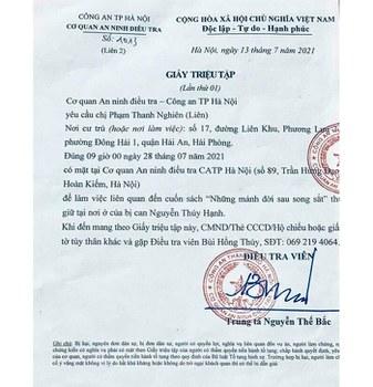 Giấy triệu tập của Công an Hà Nội ghi ngày 13/7/2021 và gia đình cô Phạm Thanh Nghiên ở Hải Phòng nhận được vào trưa ngày 26/7/2021.