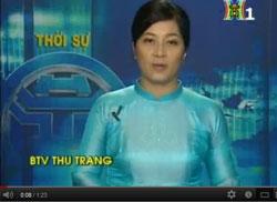 Bản tin HTV Hà Nội trưa 05-08-2012 đưa tin về cuộc biểu tình chống TQ sáng hôm đó tại Hà Nội bị người dân thu lại và đưa lên YouTube. Screen capture.