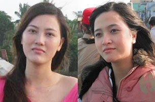 Hai chị em Huỳnh Thục Vy (trái) và Huỳnh Khánh Vy (phải)