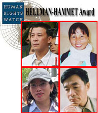 Giải thưởng Hellman Hammet năm 2011 đã được trao cho: Luật sư Lê Trần Luật, bà Hồ thị Bích Khương, blogger Tạ Phong Tần, nhà văn Nguyễn Xuân Nghĩa (từ trái và trên xuống)RFA file